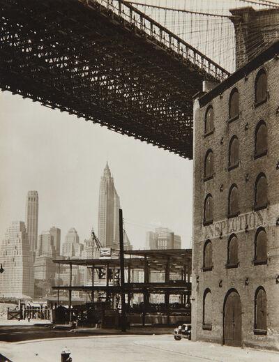 Berenice Abbott, 'Brooklyn Bridge, Water and Dock Streets, Brooklyn', 1936