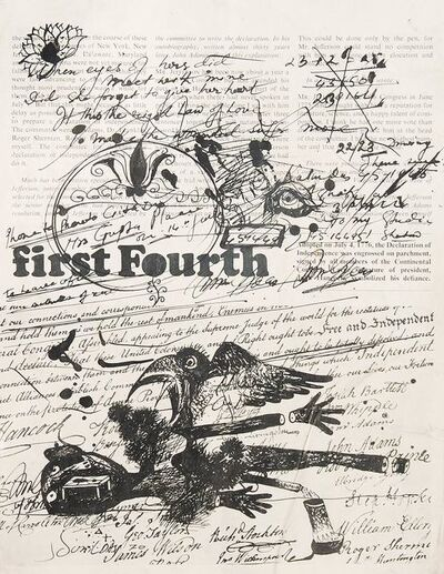 """Sunil Das, 'Span Drawing, Jottings on Printed Pages of Span Magazines by Sunil Das """"In Stock""""', 1970"""