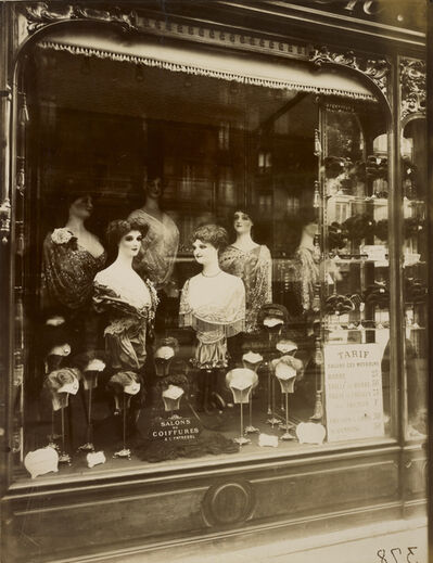 Eugène Atget, 'Hairdresser's Shop Window, boulevard de Strasbourg', 1912