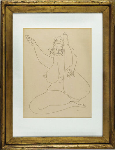 Gaston Lachaise, 'Sitting Nude with One Leg Up and One Arm Up', 1920-1930