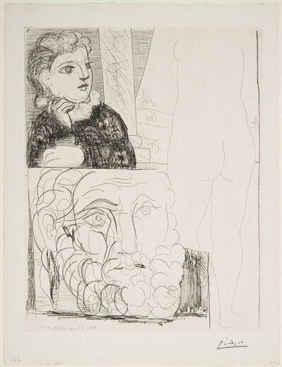 Pablo Picasso, 'Woman Leaning on her Elbow, Sculpture Viewed from the Rear and Bearded Head', May 4-1933