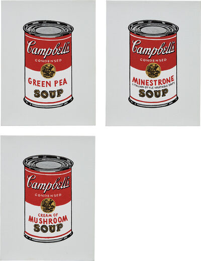 Richard Pettibone, 'Green Pea; Minestrone; and Cream of Mushroom, from Andy Warhol, '32 Cans of Campbell's Soup,' 1962', 1987