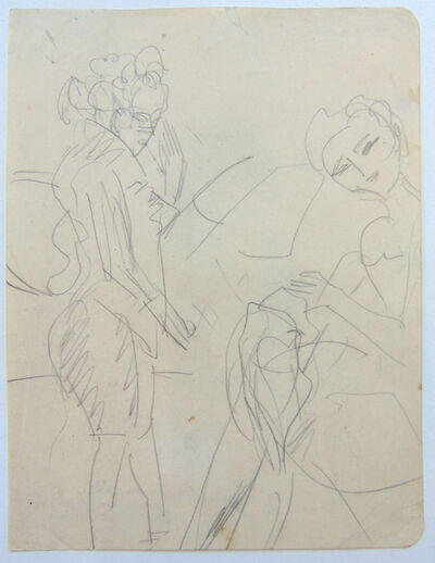 Ernst Ludwig Kirchner, 'Standing Woman and Sewing Girl   Stehende Frau und nähendes Mädchen', 1920
