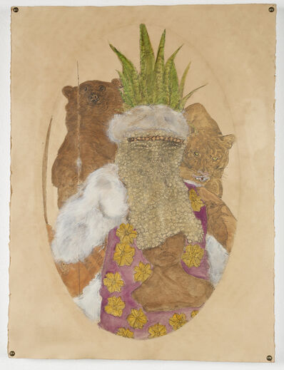 Umar Rashid (Frohawk Two Feathers), 'The Tataviam king hides his face. The ingestion of datura by the Oro King predicted the coming of Tupac Shakur and the Lakers color palette.', 2016