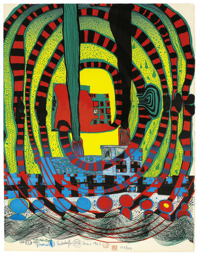 Friedensreich Hundertwasser, 'Sea voyage II - journey to the sea and by train', 1967