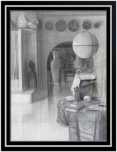 Daniel Sprick, 'Daniel Sprick Original Charcoal Drawing Signed Interior Illustration Still Life', 1983
