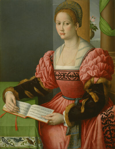 Antonio D'Ubertino Verdi (called Bachiacca), 'Portrait of a Woman with a Book of Music', 1540-1545