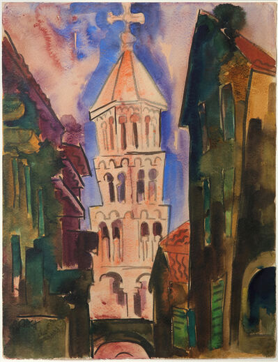 Karl Schmidt-Rottluff, 'Stadtansicht mit Kirchturm', 1925