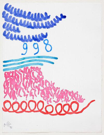 Giorgio Griffa, 'Tre linee con arabesco n. 998', 1993