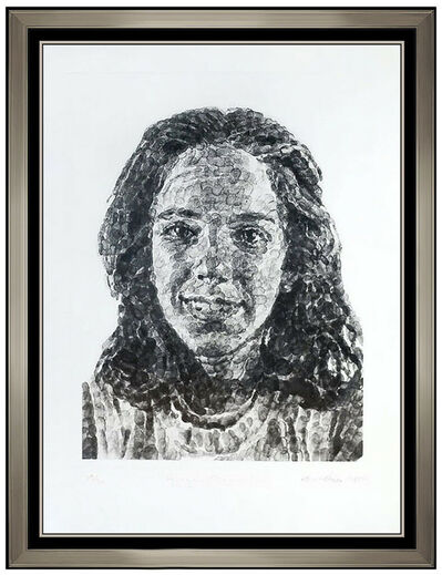 Chuck Close, 'Chuck Close Original Portrait Gravure Etching Hand Signed Georgia Fingerprint', 1985