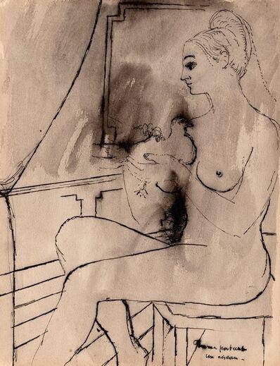 Paul Delvaux, 'Recto Femme portant un oiseau / Verso photo de l'Artiste collè au center du dessin de 4 femmes'