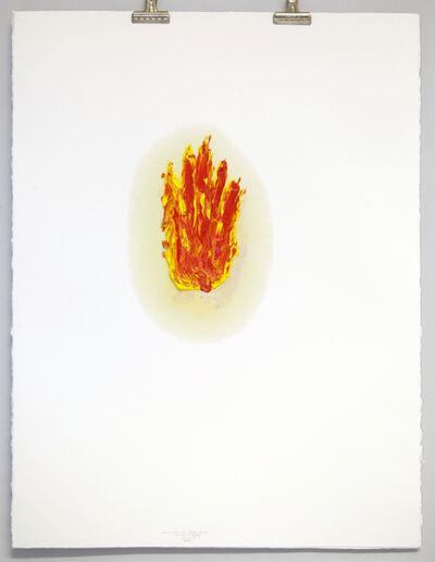 Sarkis, '2018.05.14 Main/Feu en rouge et jaune, sur 4 feuilles superposées', 2018