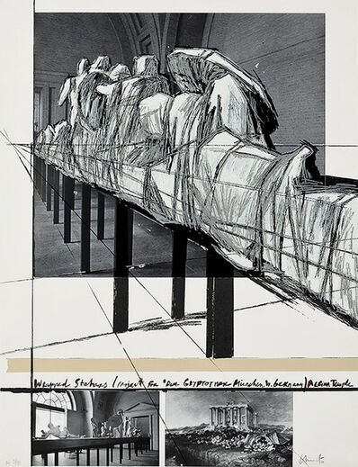 Christo and Jeanne-Claude, 'Wrapped Statues (Project for der Glypotek Munchen, W.Germany, Aegina temple)'