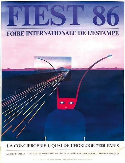"""Jean Michel Folon, 'Lotto di due manifesti; """"Quoi? Un film de Roman Polanski""""; """"Fiest 86, Foire internationale de l'estampe""""', 1972-1986"""