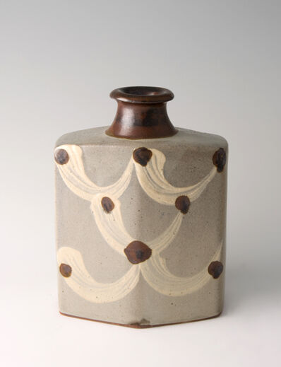 Shinsaku Hamada, 'Bottle, ji glaze with hakeme decoration'