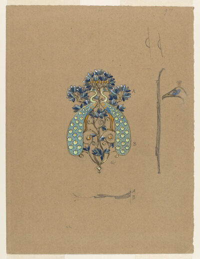 Eugène Samuel Grasset, 'Design for a Belt Buckle with Peacock Motif', 1900