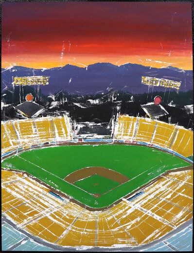 Pete Kasprzak, 'Dodgers Stadium Home Plate Sunset Aerial', 2020