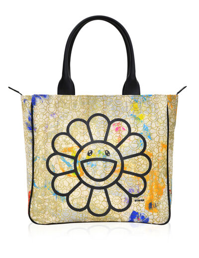Takashi Murakami, 'Canvas Handbag - Gold Flowers / Black / Skulls Interior *', 2019