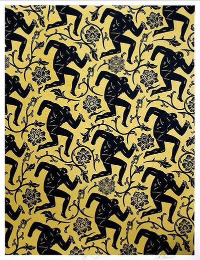 Cleon Peterson, 'Pattern of Corruption (Black/Gold) - Collab with Shepard Fairey', 2015