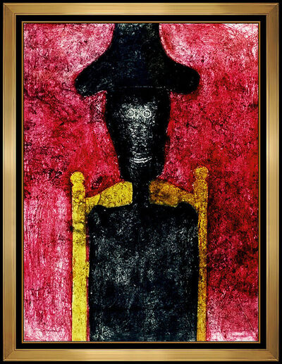 Rufino Tamayo, 'Rufino Tamayo Hombre Original Color Mixograph Large Portrait Signed Framed Art', 1976