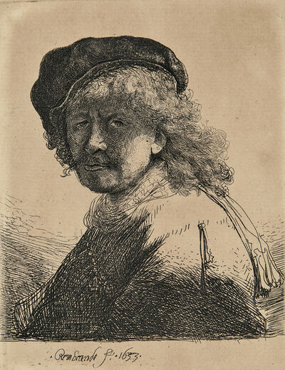 Rembrandt van Rijn, 'Self Portrait in a Cap and Scarf with the Face Dark: Bust', 1633-a later impression