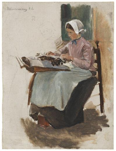 Max Liebermann, 'Brabanter Spitzenklöpplerin nach links - Studie', 1881