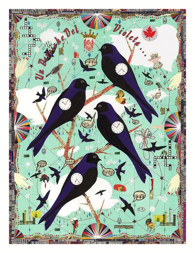 Tony Fitzpatrick, 'Winter Martins (A Dervish of Violet)', 2016