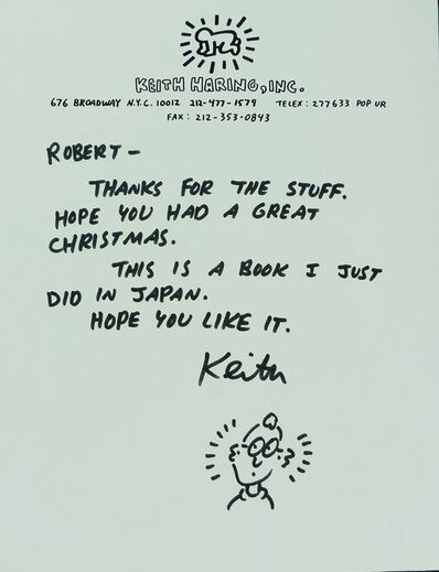 Keith Haring, 'Untitled(Letter to Robert with Drawing)', 1989