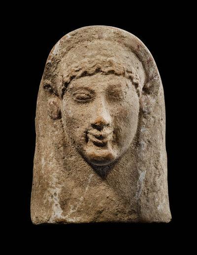 Unknown Greek, 'Ancient Archaic Greek Terracotta Head of a Kore', Greek, Archaic, 6th century B.C.
