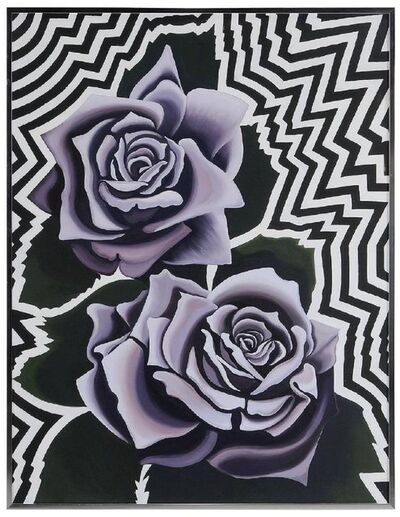 Lowell Nesbitt, 'Two Violet Roses 1974, Op Art Floral Oil on Canvas Painting', 1970-1979