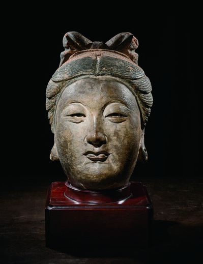 Unknown Chinese, 'Large Painted Stucco Head of a Bodhisattva 元14世紀 灰泥彩繪菩薩首像', China: Yuan Dynasty, 14th century, stand