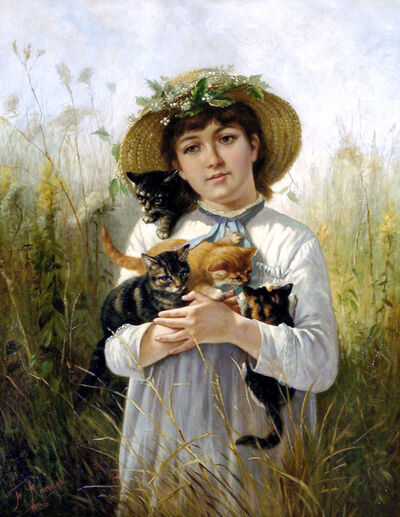 Frederick Rondel, 'Young Girl with Kittens, 1886', 1886