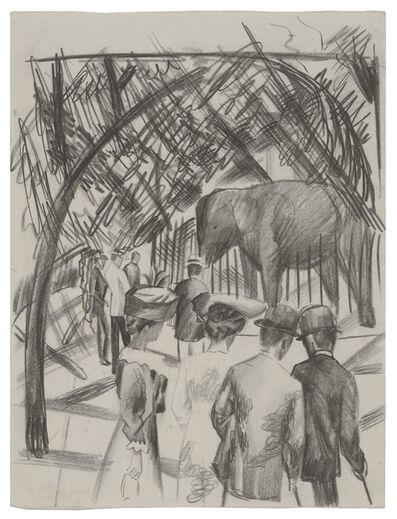 August Macke, 'Beim Elefanten (groß)', 1913