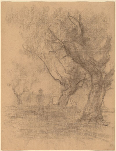 William Morris Hunt, 'Woman Standing beneath Two Trees', ca. 1877