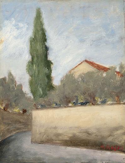 Ottone Rosai, 'Paesaggio con cipresso', 1956