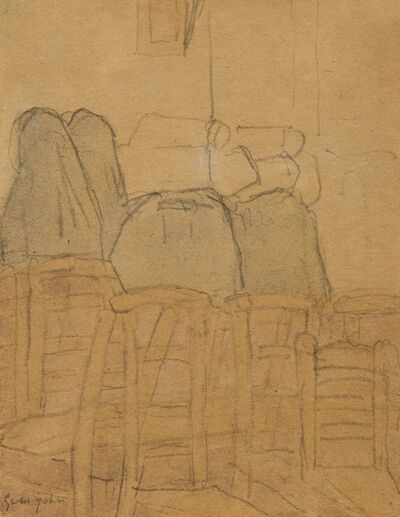 Gwen John, 'Two Nuns and Orphans in a Church', circa 1925