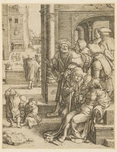 Lucas van Leyden, 'The poet Virgil suspended in a basket', 1525