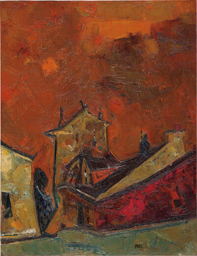 Sayed Haider Raza, 'Village au ciel orange', circa 1956
