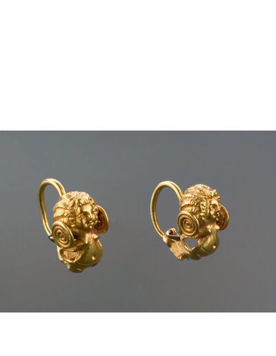 Unknown Greek, 'Byzantine Gold Earrings of Nude Women', Byzantine-6th century A.D.
