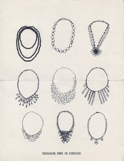 Lenka Clayton, 'Necklaces Worn to Openings (from the Typewriter Drawings series)', 2016