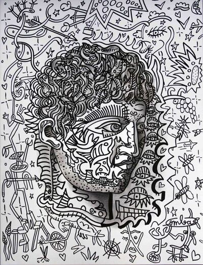 Robert Combas, 'Portrait en auto-tampon pas vraiment ressemblant malgré les poissons volants foisonnant sur sa tête. Homme de l'eau, homme de terre. C'est le Terre-EAU', 2018