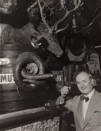Brassaï, 'Joan Miró à Barcelona, Barrio Chino (In a bar at the Barrio Chino, Miró drinks a glass of sherry)', 1955