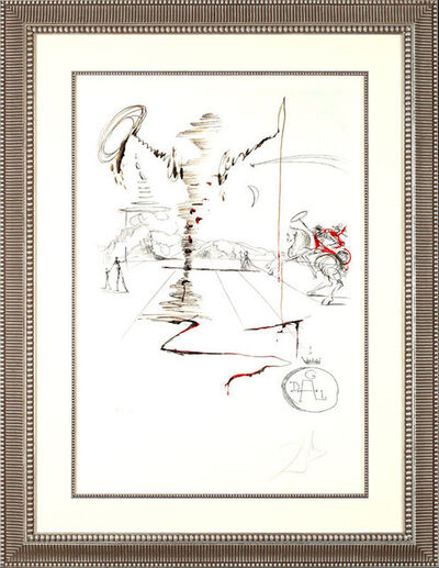 "Salvador Dalí, '""Don Quixote on an Infinite Landscape""    Hand Signed Salvador Dali Lithograph ', 1941-1957"