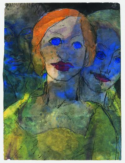 Emil Nolde, 'Phantasie (Drei Köpfe)', 1931-1935