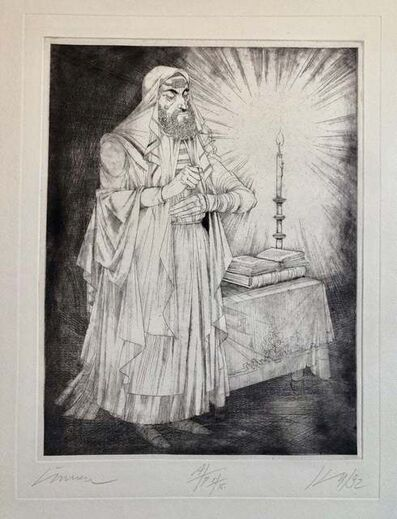 Janos Kass, 'Hungarian Modernist Judaica Etching Print Teffilin, Jewish Rabbi in Prayer', 1990-1999