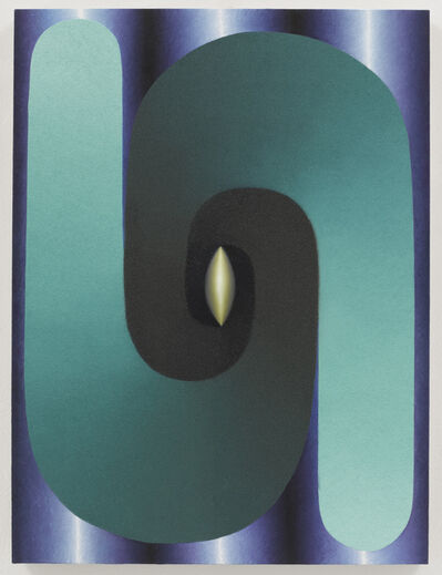Loie Hollowell, 'Stacked Lingam (teal, blue, purple, yellow)', 2017