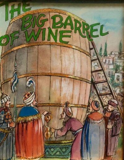 Zalman Kleinman, 'Barrel of Wine, Original Watercolor and Ink Illustration Important Chabad Artist', 1980-1989