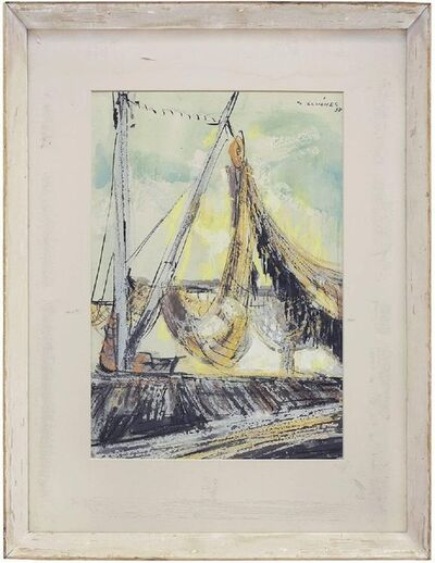 Samson Schames, 'German American Expressionist Abstract Sailboat', 1950-1959