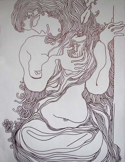 "Prokash Karmakar, 'Lady with the Lamp, Ink on Canvas by Modern Artist ""In Stock""', 2006"