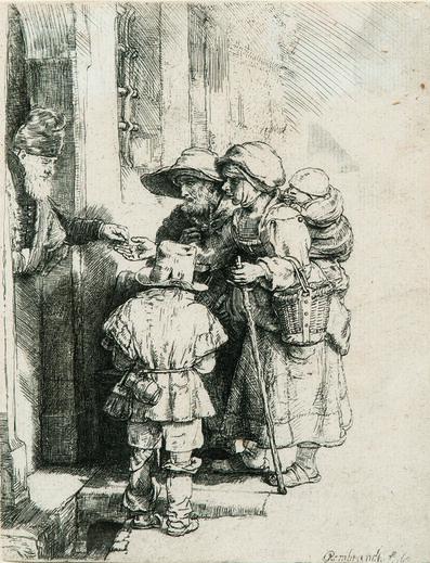 Rembrandt van Rijn, 'Beggars Receiving Alms at the Door of a House', 1648